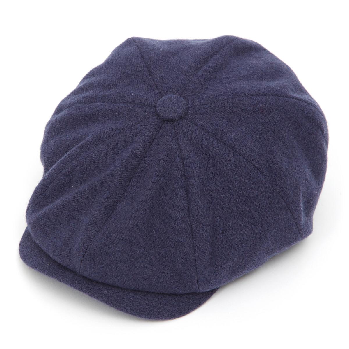 Joshua Ellis Tweed 8 Piece Baker Boy Flat Cap-Blue-L