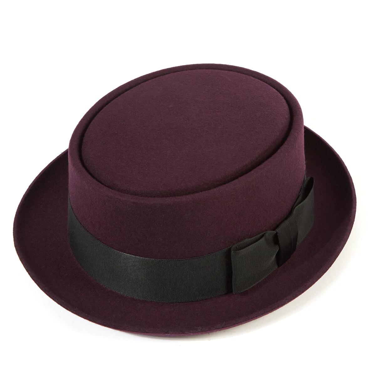 Pork Pie Wool Felt Trilby Hat - Berry in Size 59cm
