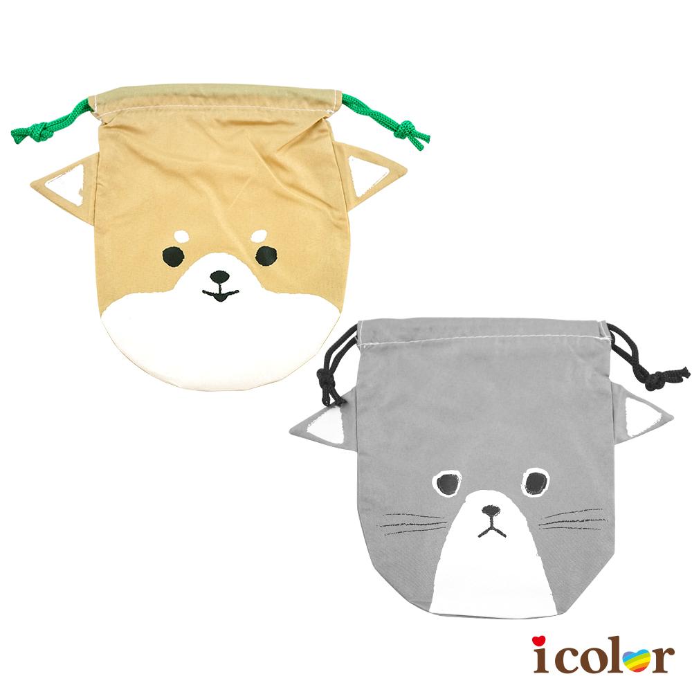 趣味貓臉&狗臉立體造型束口袋