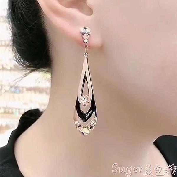 耳環韓國超仙氣質三層菱形磨砂鈦鋼耳環女百搭顯臉瘦的耳墜網紅耳飾品  新品