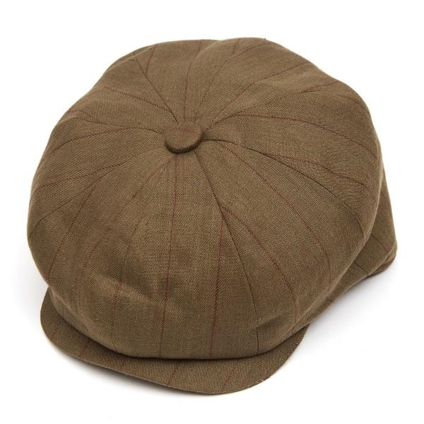 8 Piece Baker Boy Stripped Linen Flat Cap