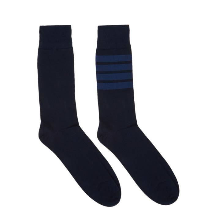 Thom Browne 海军蓝 4-Bar 中筒袜