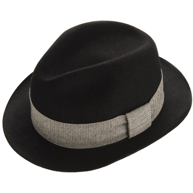 Hove Snap Brim Trilby - Blac in size 62