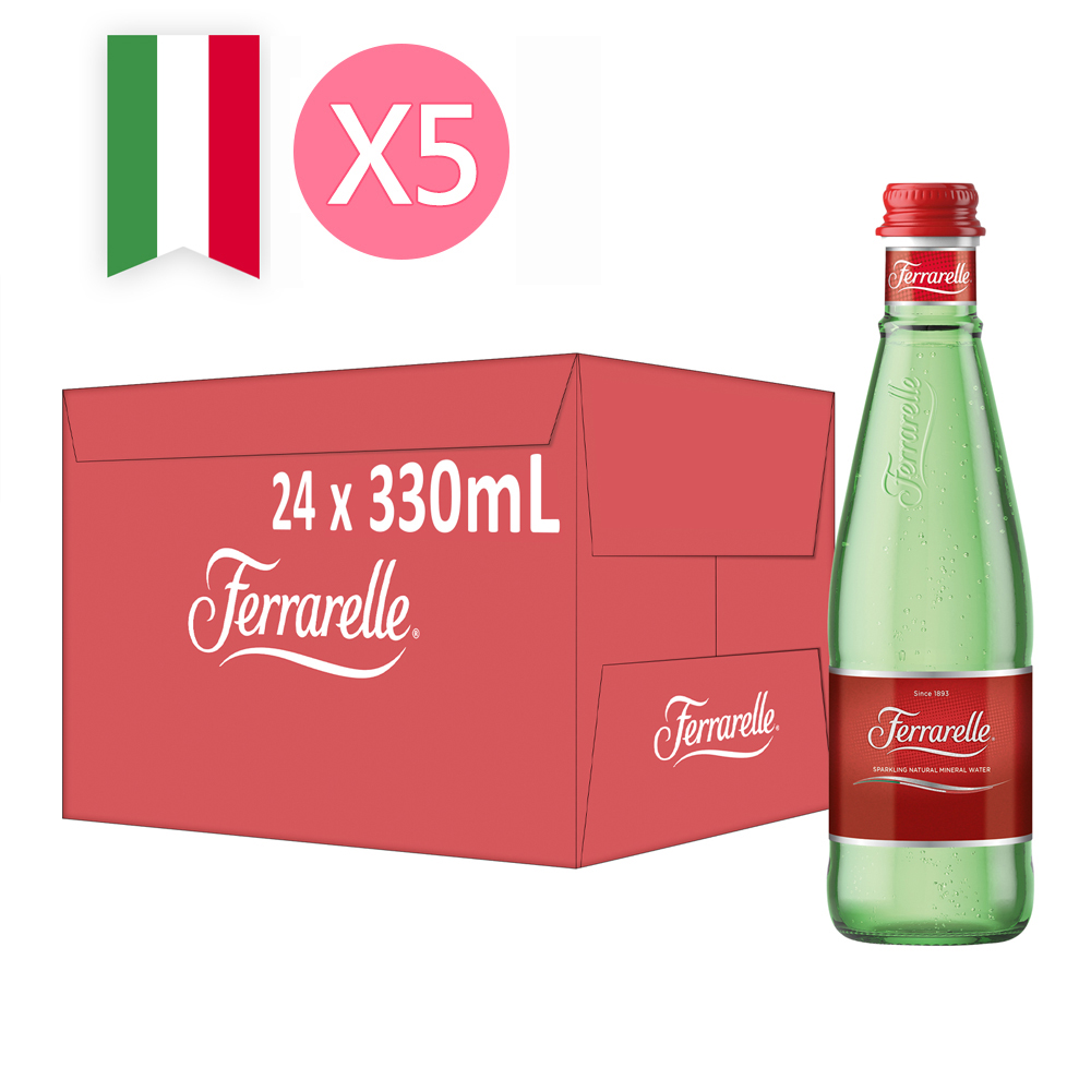 【Ferrarelle 法拉蕊】氣泡天然礦泉水330ml(24入/玻璃瓶)x5箱