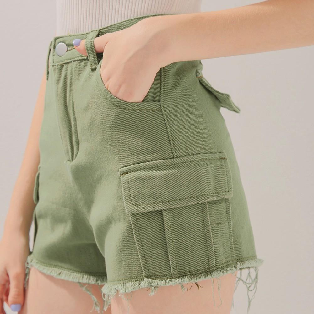 AIR SPACE 率性口袋造型抽鬚短褲(綠)