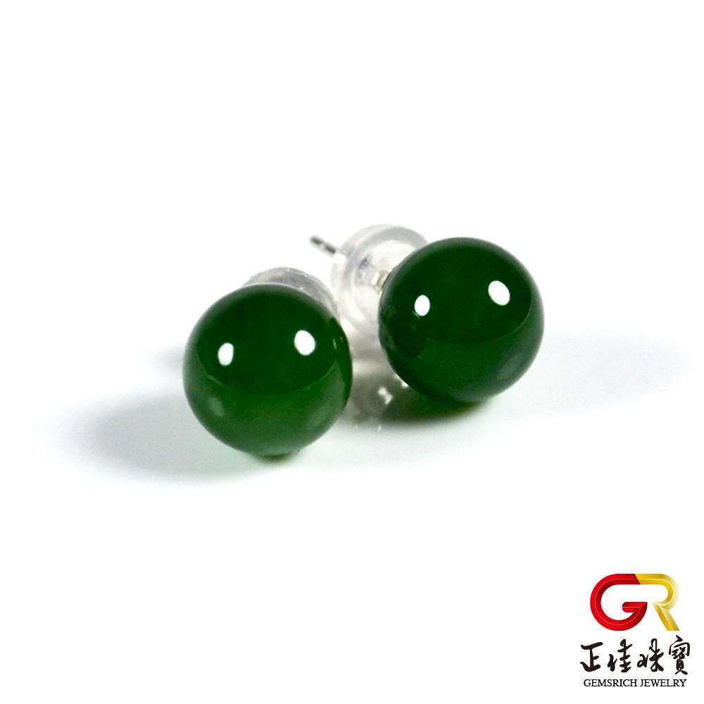 菠菜綠碧玉圓珠耳環 8mm圓珠 925銀 白K包銀 耳釘 正佳珠寶