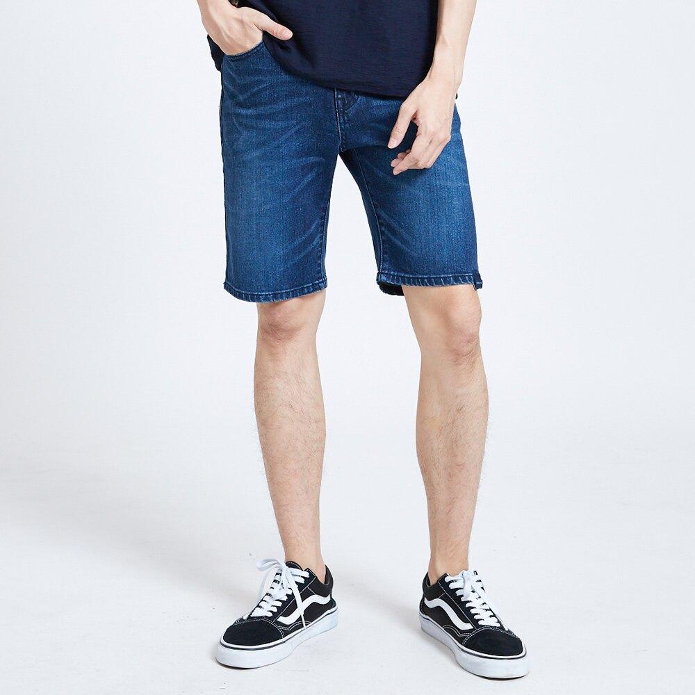 EDOKATSU江戶勝 印繡彈力牛仔短褲-男款 石洗藍 SHORTS