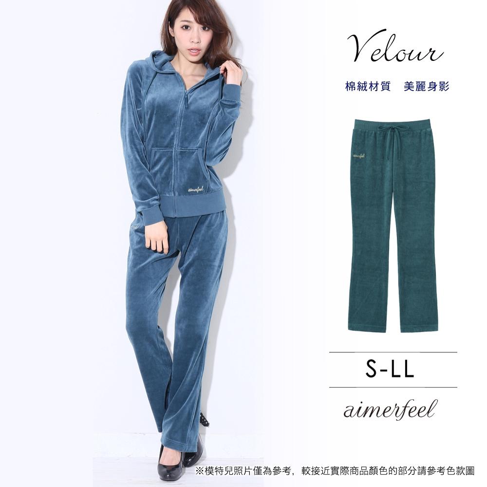 家居服運動服14素色絲絨長褲-綠色-840250-GR