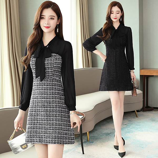 VK精品服飾 韓國輕熟風女裝chic氣質顯瘦雪紡拼接毛呢長袖洋裝