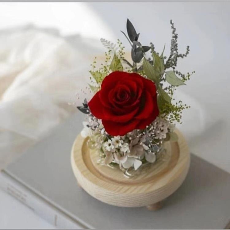 永生花 永生花禮盒帶玻璃罩玫瑰擺件干花結婚送愛人520情人節生日禮物 新年钜惠