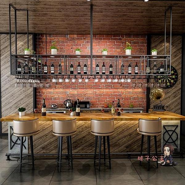 吧台吊架 鐵藝實木吊架懸掛酒架壁掛擱板置物架餐廳酒吧台倒掛酒杯架裝飾櫃T