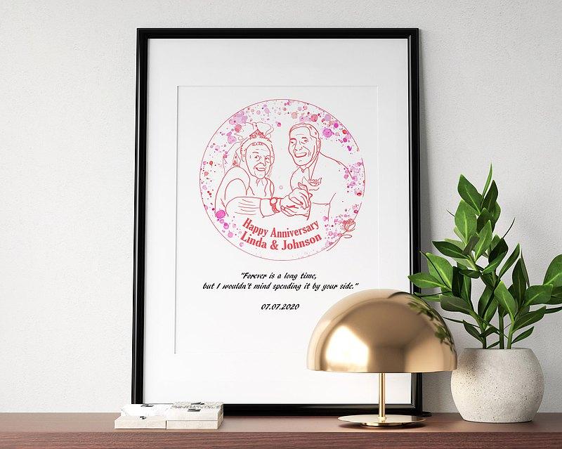 甜蜜粉-客製化人像插畫留言/彩色電子檔/寵物/生日/結婚紀念日