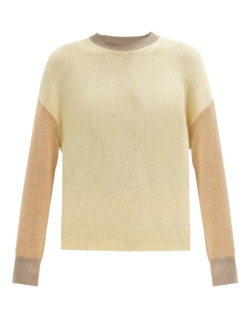 Marni - Colour-block Cashmere Sweater - Womens - Beige Multi