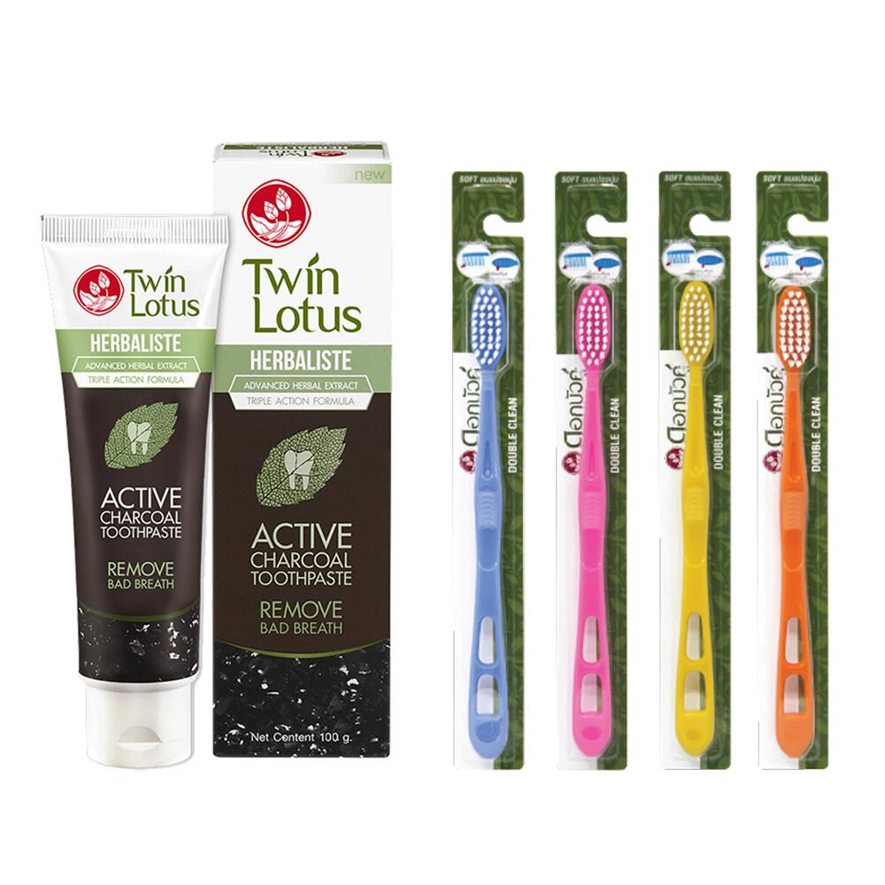 twin lotus雙蓮皇室草本活性碳亮白牙膏100g+泰國皇室山形清潔牙刷特惠組
