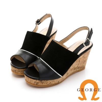 GEORGE 喬治皮鞋 夏日風情真皮拼接魚口楔型涼鞋-黑