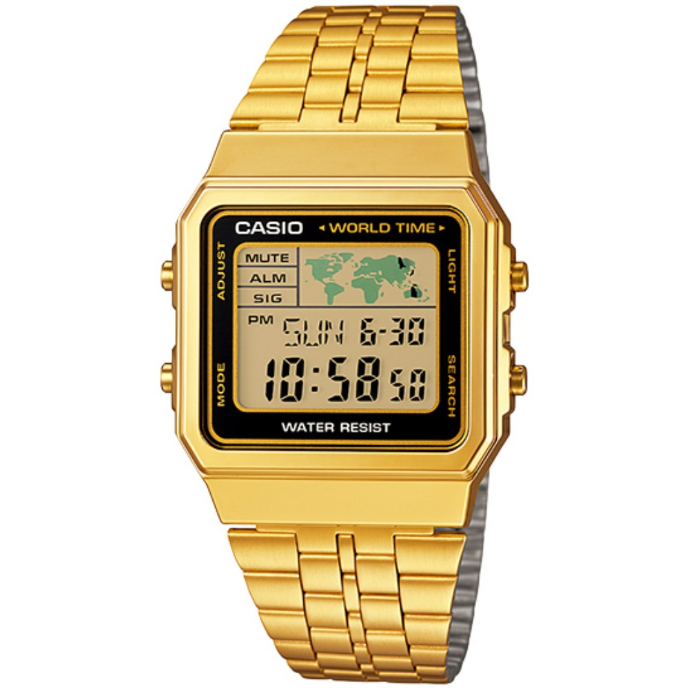 【CASIO】卡西歐手錶 A500WGA-1D 復古方塊世界休閒全金電子錶-黑框 原廠公司貨