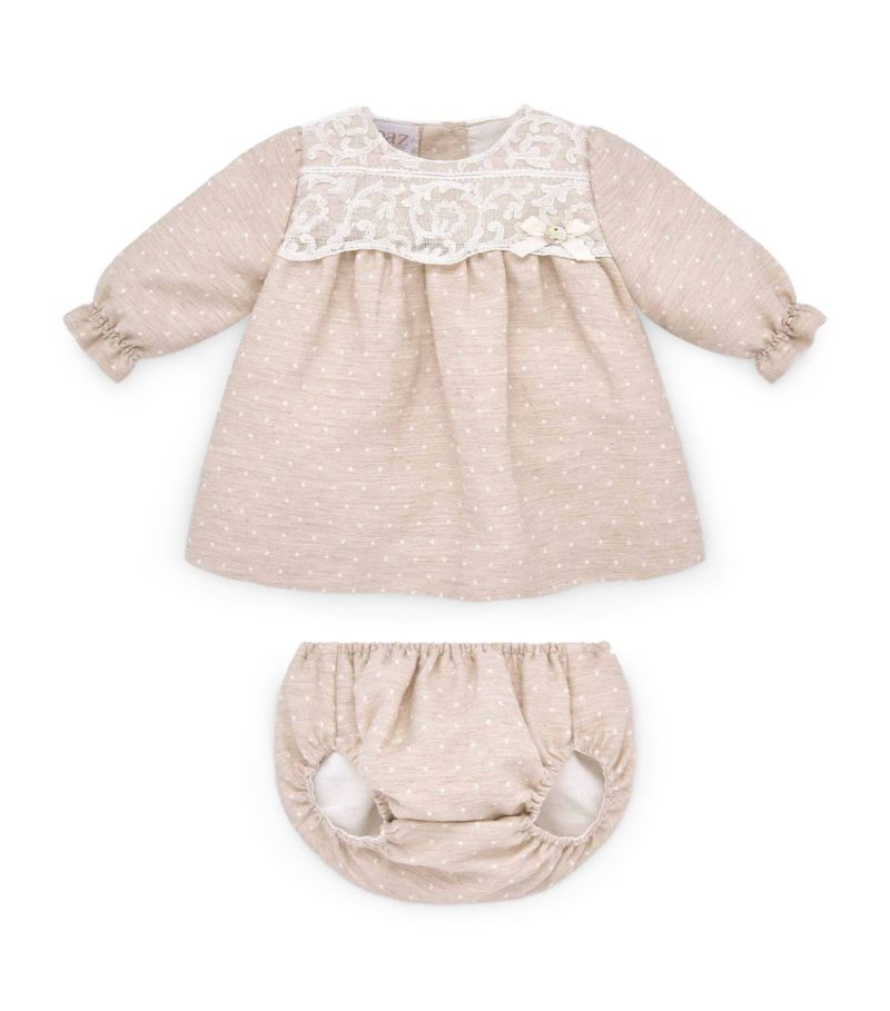 Paz Rodriguez Dobby Dot Dress And Bloomers Set (1-24 Months)