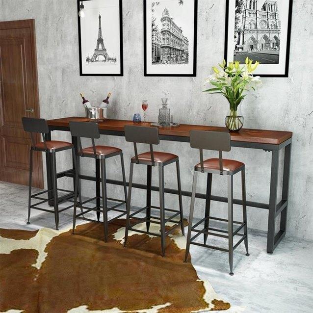 吧臺桌實木家用客廳隔斷櫃木板奶茶店小桌椅組合靠牆高腳桌簡約  秋冬新品特惠