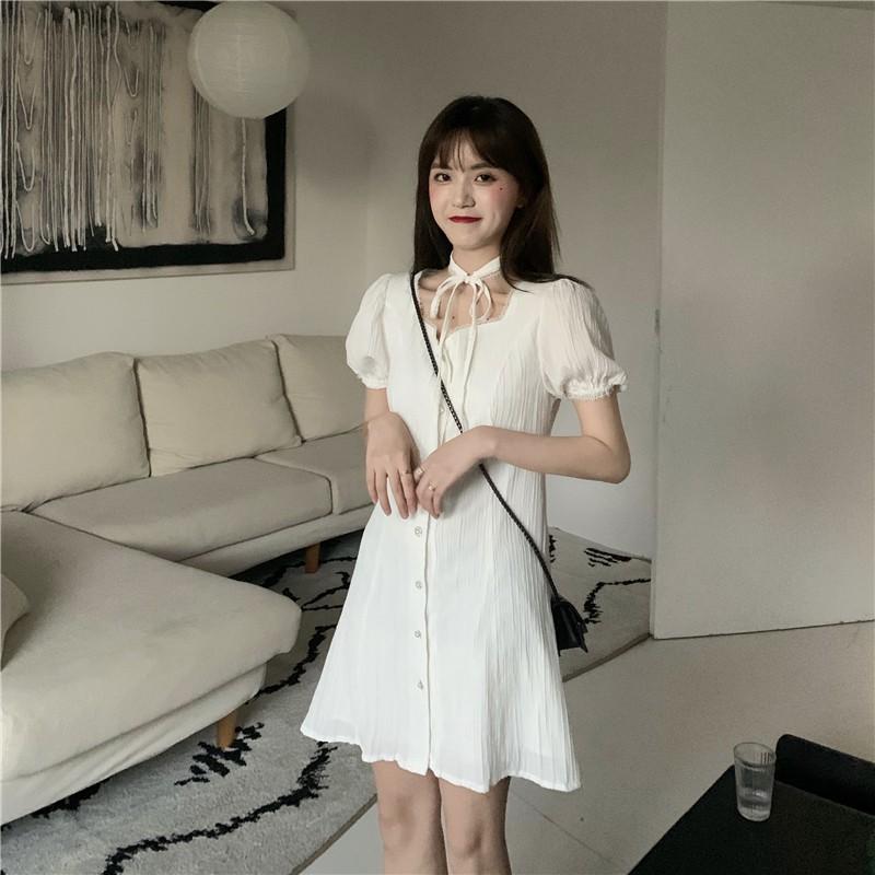夏季新款赫本風復古設計感小眾洋裝女神範法式顯瘦小黑短裙
