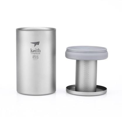 【Keith純鈦】Ti3521雙層過濾泡茶杯(450ml) 鈦泡茶杯 鈦杯《屋外生活》