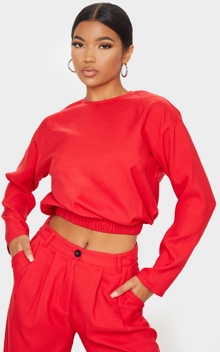 Red Woven Elastic Hem Cropped Long Sleeve Top