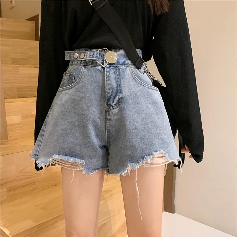 夏季2020新款網紅高腰牛仔短褲女潮ins薄款顯瘦寬松a字闊腿熱褲子