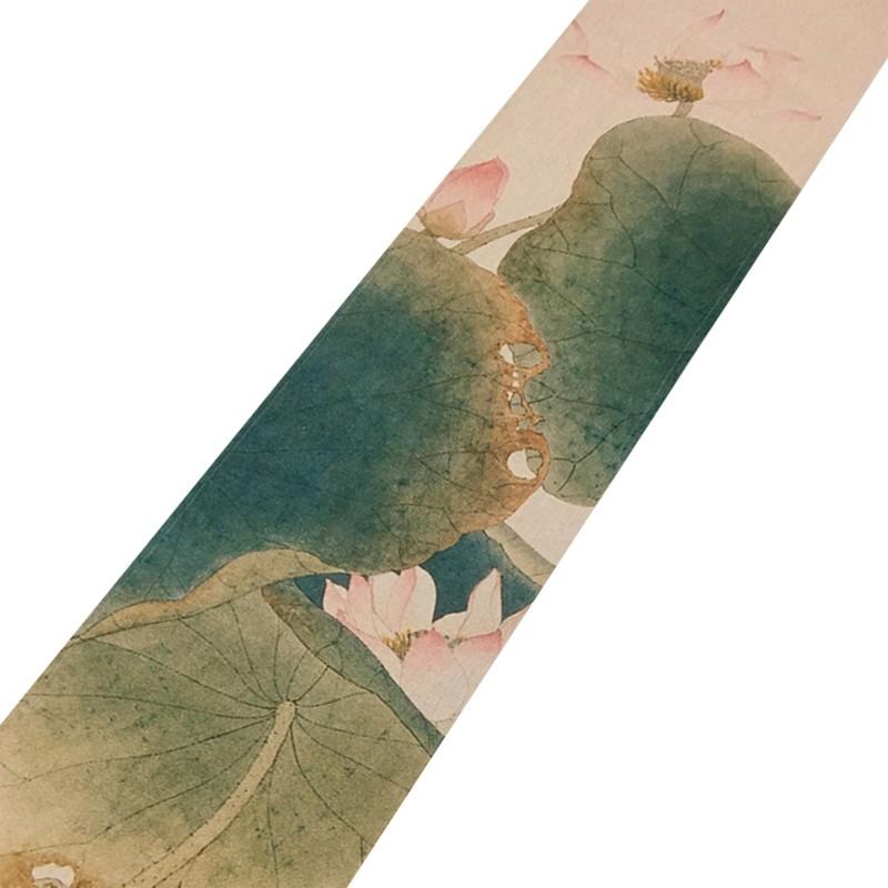 新中式大板桌旗加長茶席禪意紅木茶幾茶桌餐桌棉麻布藝桌布中國風