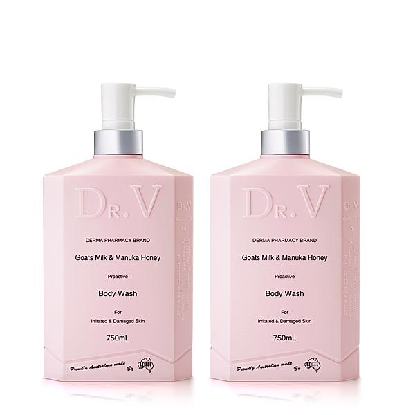 【澳洲Dr. V】專業級配方-山羊奶曼努考蜂蜜沐浴乳(2入組 750ml/瓶)