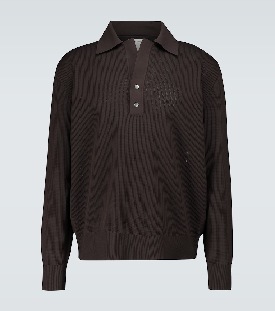 Knitted long-sleeved polo shirt