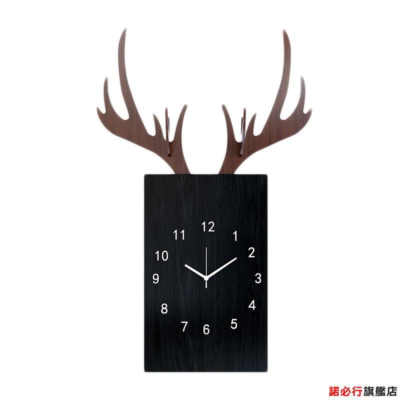 【全館免運】北歐風格掛鐘現代簡約客廳家用時尚輕奢個性創意麋鹿時鐘靜音鐘表 諾必行旗艦店