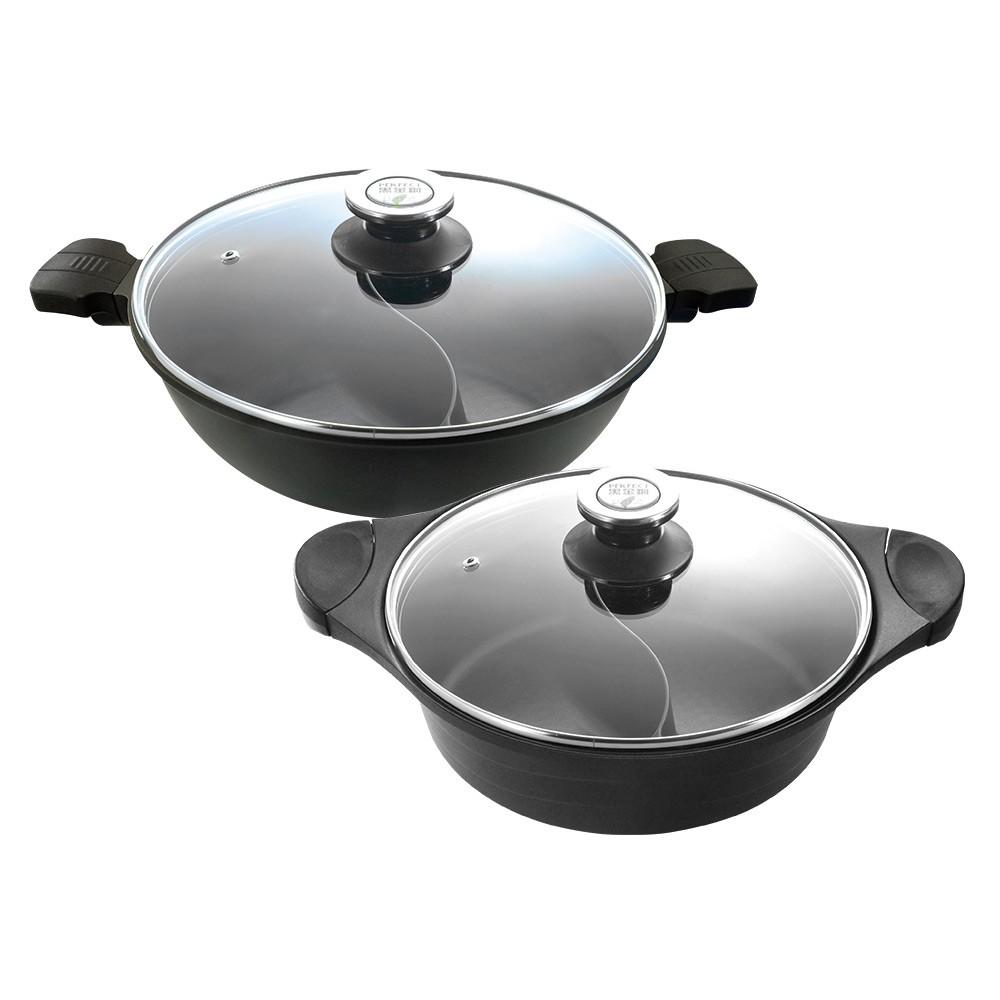 《PERFECT 理想》日式黑金鋼鴛鴦鍋30cm/33cm附蓋(含運含發票)