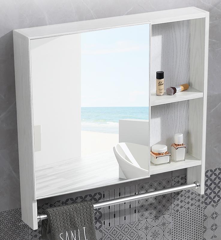 80cm 帶毛巾桿 鏡櫃 浴室櫃 鏡箱 鋁合金浴室鏡箱吊櫃壁掛櫃衛生間梳妝鏡面櫃衛浴鏡子帶置物架北歐