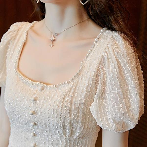 泡袖洋裝新款女裝方領小泡袖洋裝平時可穿少女泡泡袖小個子洋裝子夏天 【ifashion·全店免運】
