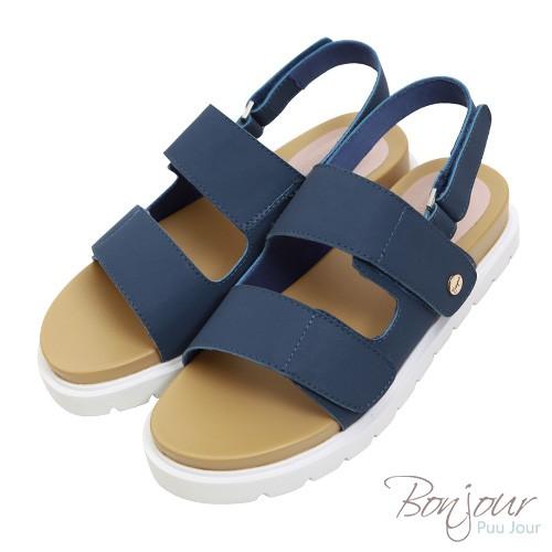 BONJOUR New晴雨二穿!可水洗輕量厚底涼鞋Sandals ZB0390 深藍