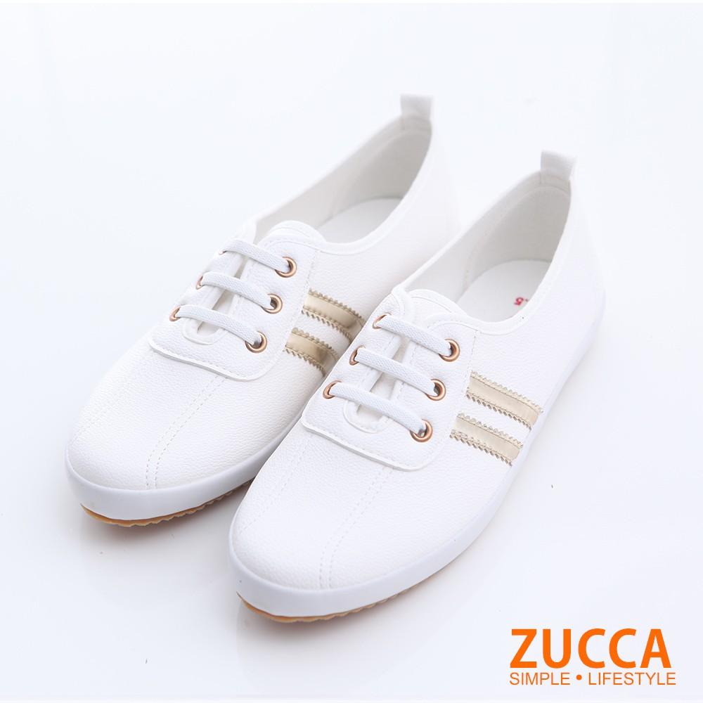 【ZUCCA】日系帆布橫紋休閒鞋-z6304gd-金