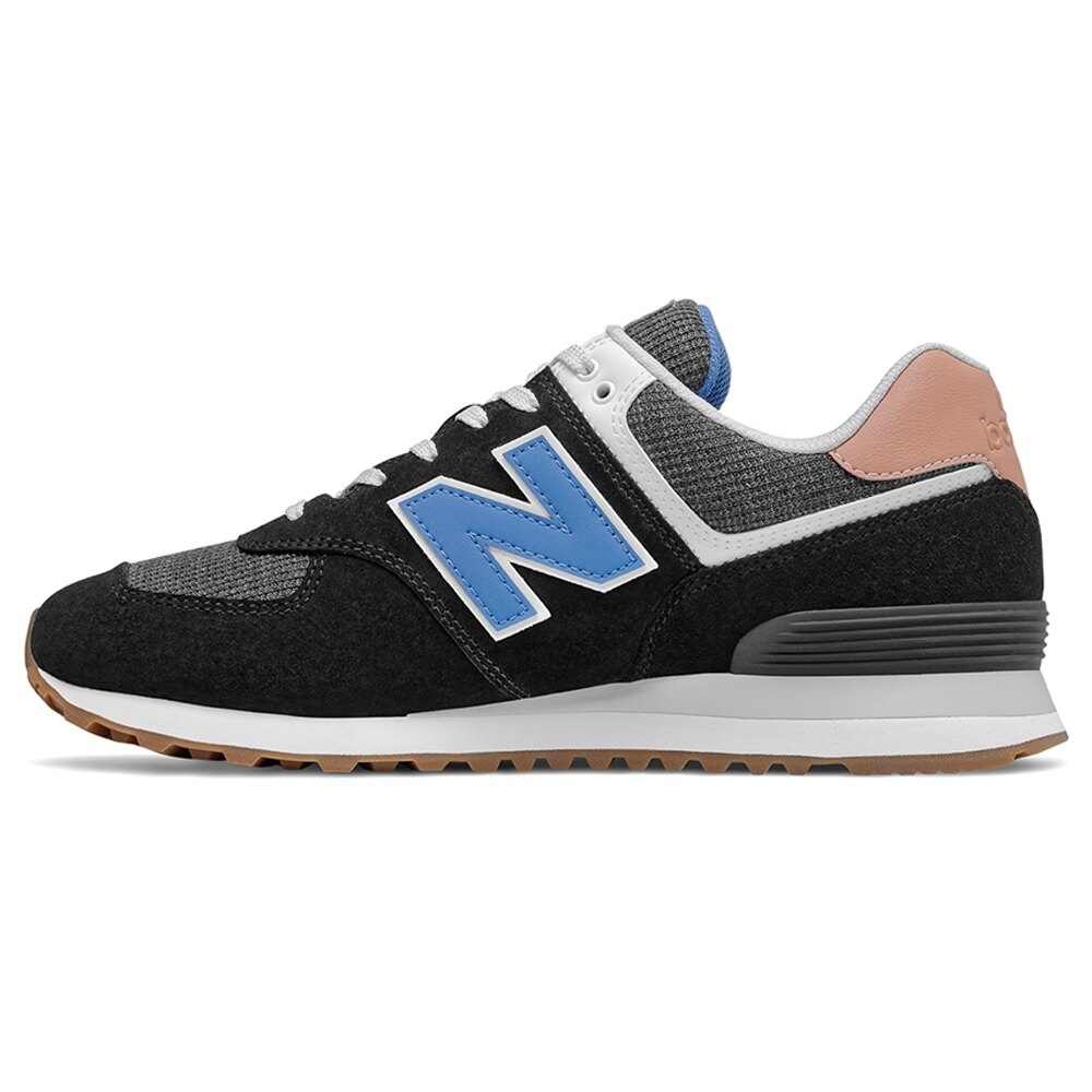 New Balance 574 男鞋 休閒 緩震 麂皮 回收材質 黑 藍【運動世界】ML574TYE