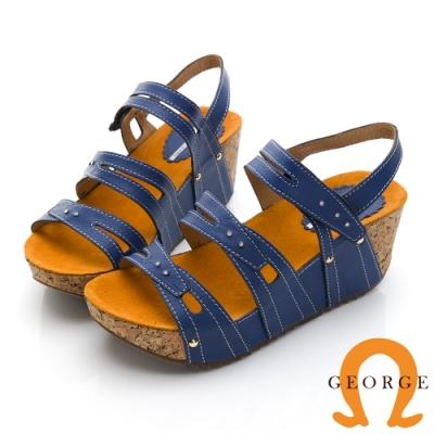 GEORGE 喬治皮鞋 真皮黏帶厚底羅馬涼鞋-藍