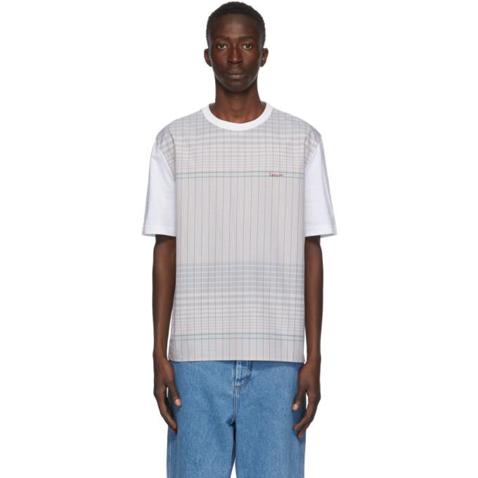 Lanvin 白色 and 棕色格纹 T 恤