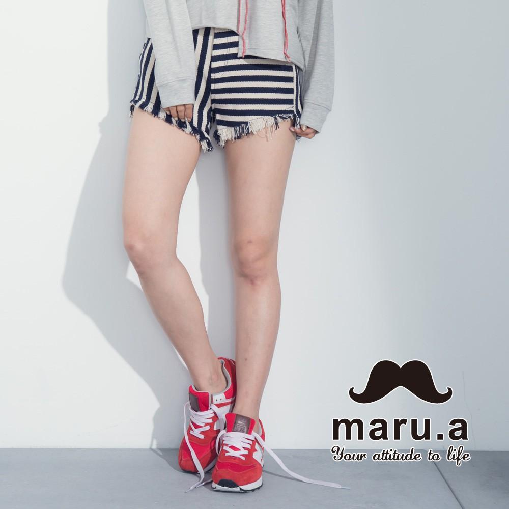 maru.a (83)條紋拼接褲管抽鬚短褲(深藍)