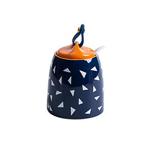 陶瓷幾何造型廚房調味罐-藍