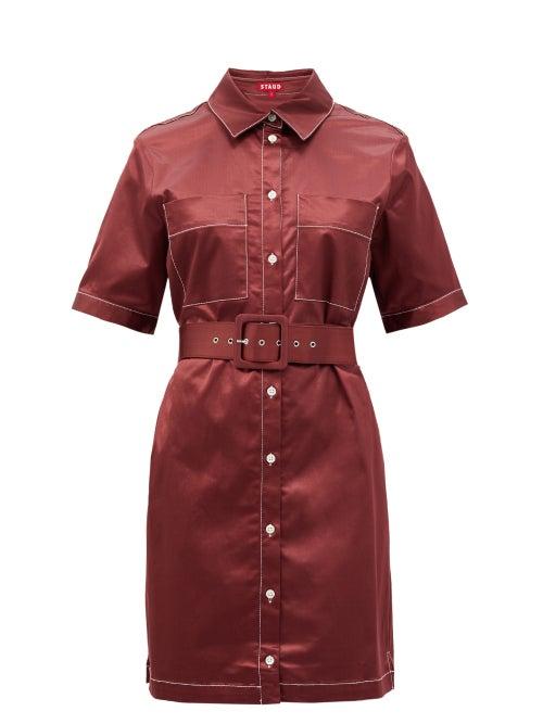 Staud - Bentley Cotton-blend Satin Shirt Dress - Womens - Burgundy