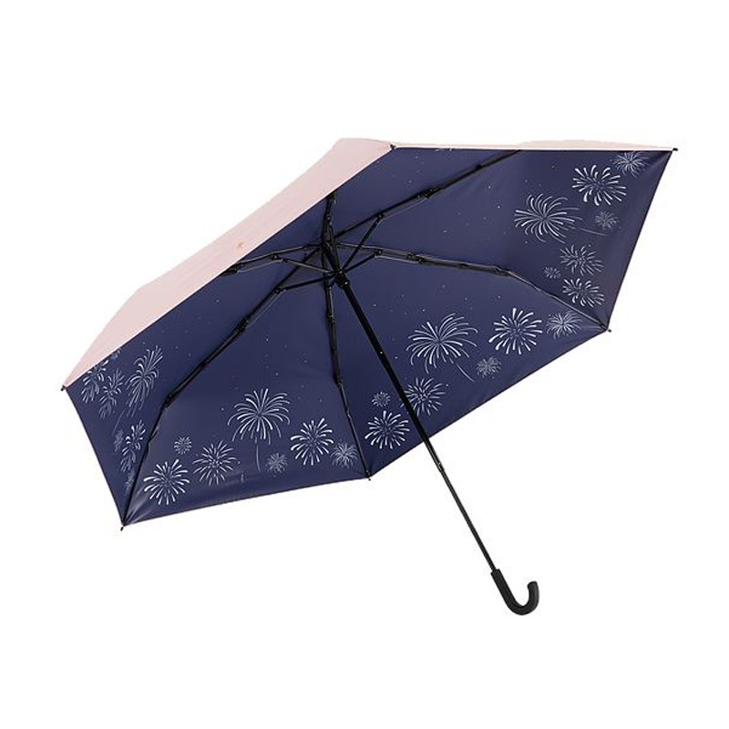 Prolla 日本雙骨全遮光煙火傘 夏日夜空煙花 粉色外層 防曬遮光傘