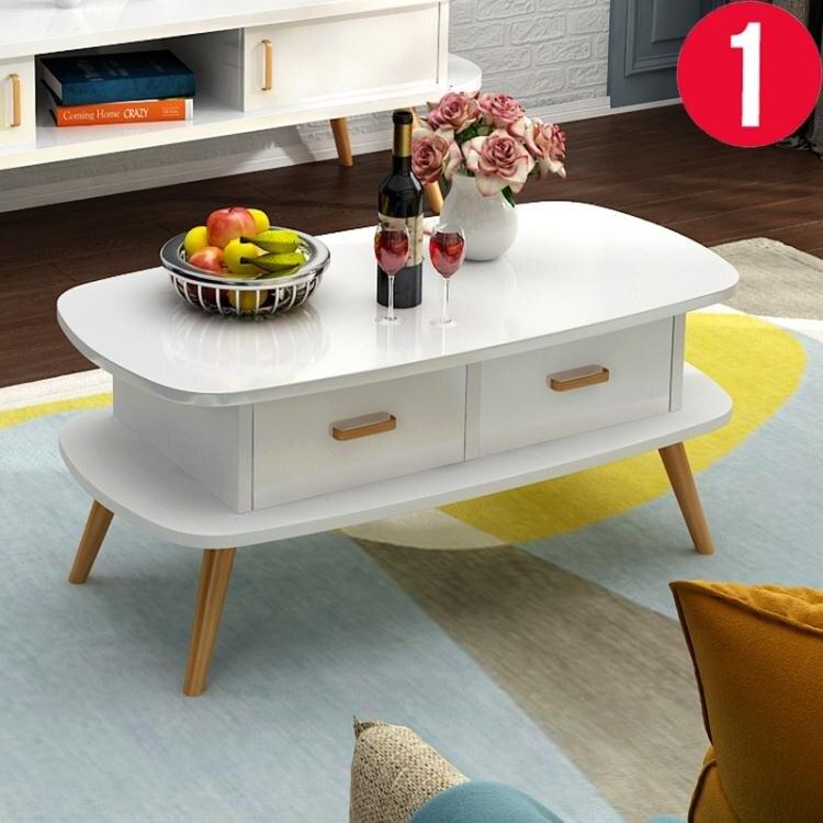 實木茶幾簡約現代客廳小戶型北歐橢圓形簡易小桌子創意電視櫃組合   【新年鉅惠】