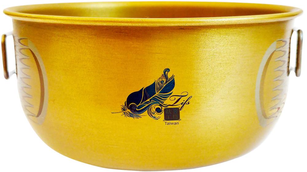 鈦碗鈦喜工坊單層金色純鈦碗-400ml 鳯紋附把