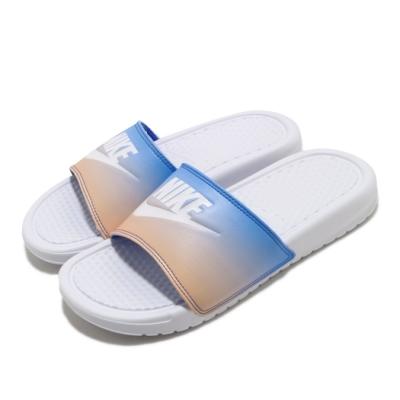 Nike 涼拖鞋 Benassi JDI Print 女鞋 基本款 舒適 套腳 夏日 輕便 漸層色 白 藍 618919122