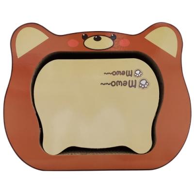 微笑汪喵-可愛貓頭橘色造型貓用紙抓板
