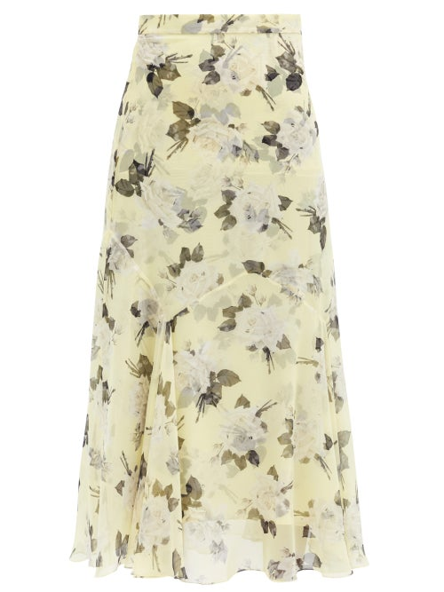 Erdem - Shea Rose-print Silk-chiffon Midi Skirt - Womens - Yellow Print