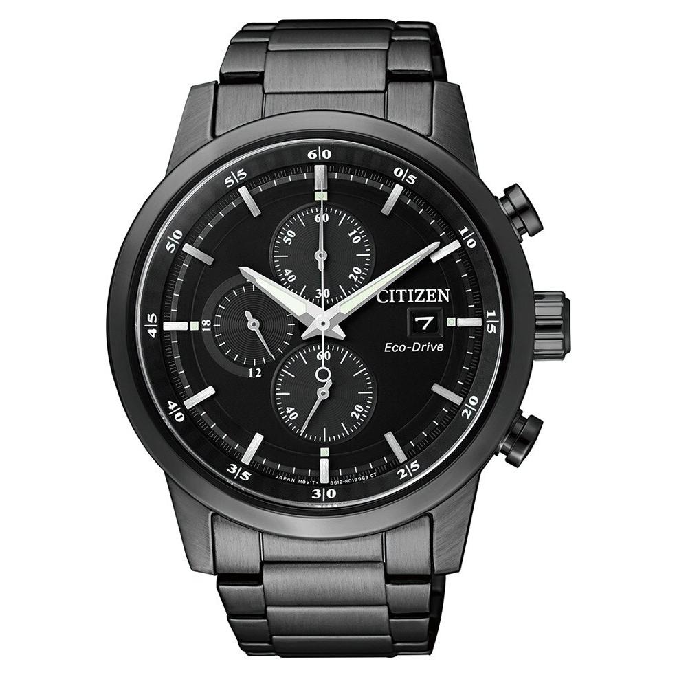 CITIZEN星辰 簡約質感光動能三眼計時男錶 CA0615-59E-黑鋼/42mm
