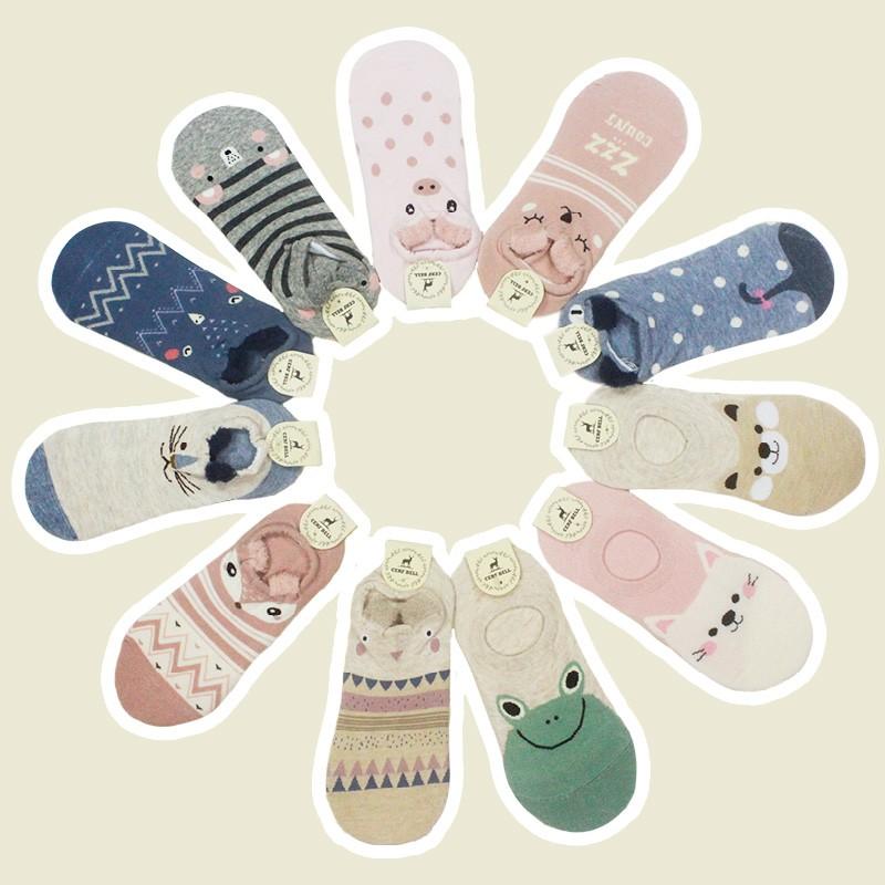 【瑟夫貝爾】韓版純棉船襪 棉襪 造型船型襪 可愛療癒小動物 流行女襪