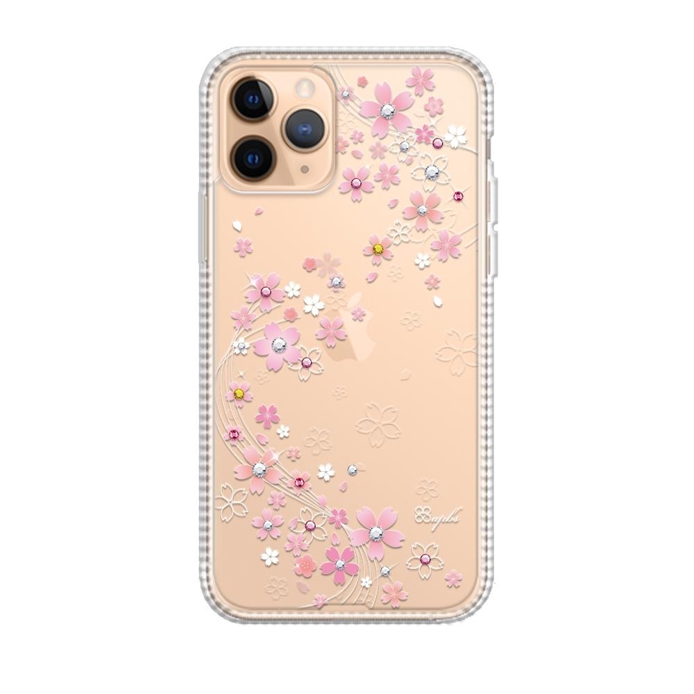 apbs iPhone 11 Pro Max 6.5吋輕薄軍規防摔施華彩鑽手機殼-天籟之櫻